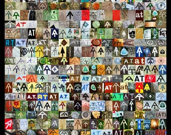 The AT poster // Appalachian Trail Poster // AT Symbol Collage Poster
