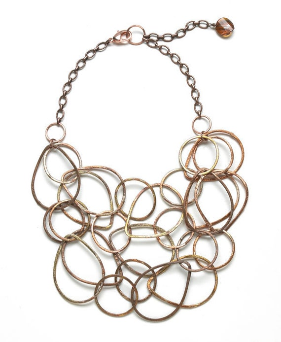 Copper Chain Bib necklace and earrings