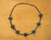 Turquoise Glass Beads & Black Chain Necklace