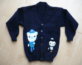Octonauts Barnacles,  Peso,  Kwazii Cardigan Age 4, 5 or 6  Knitted to Order