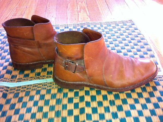 Vintage Medium Brown Leather Ankle Boots with Side Buckle Mens US Size 9.5