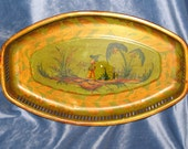 French antique chinoiserie Tole tray reticulated rim