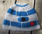 Handmade Crocheted R2D2 Hat