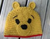 Handmade Crocheted Winnie The Pooh Hat