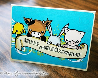 Veganniversary Card - Vegan Anniversary - Cow Pig Animals - ReLove Plan.et Art Print