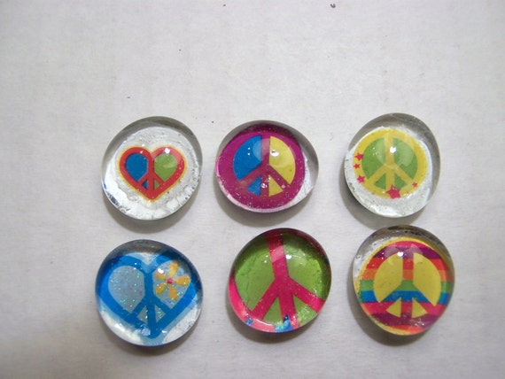 Glass Marble Magnets - Peace / 30