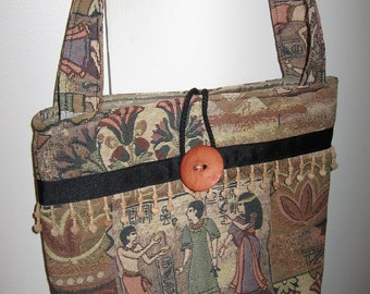 "Tapastry Purse with Large Button Closer 12""x13"" with Egyptian Fabric"