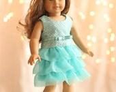 American Girl Doll Clothing - Sparkling-Aqua Party Dress