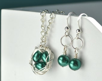 Birds Nest Jewelry - Earring and Necklace Set - Gift For Mom - Teal Pearl - Custom