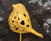 Ready to Ship/Cast Iron Bird Hook Refinished in Yellow Gold