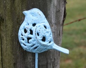 Ready to Ship/Cast Iron Bird Hook Refinished in Baby Blue