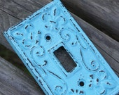 TURQUOISE Cast Iron Ornate Single Switch Plate / Fleur de lis / Light Switch Plate