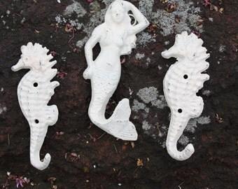 Cast Iron Mermaid and Seahorses Trio in IVORY