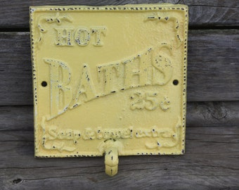 PICK YOUR COLOR   Cast Iron Bathroom Hook / Sign Wall Hook / Yellow