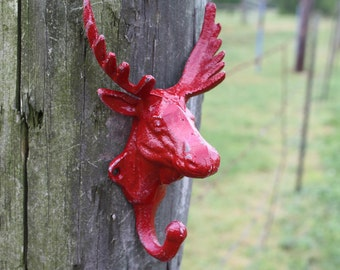 Wall Hook/Cast Iron Moose Head Refinished in Banner Red