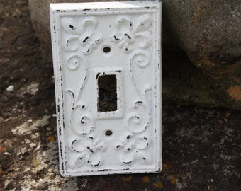 WHITE Cast Iron Ornate Single Switch Plate / Fleur de lis / Light Switch Plate