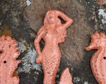 Trio of Cast Iron Mermaid and Seahorses in Coral