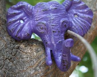 Cast Iron Elephant Head/Wall Hook/Coat Hook in Purple