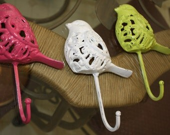 Trio of Cast Iron Bird Hooks Refinished in PINK, Lime GREEN, and WHITE
