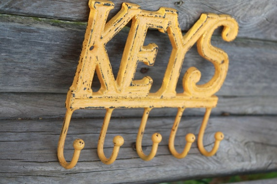 Reduced  READY To SHIP  Yellow Gold KEYS Key Rack/Shabby Chic/Cottage Chic
