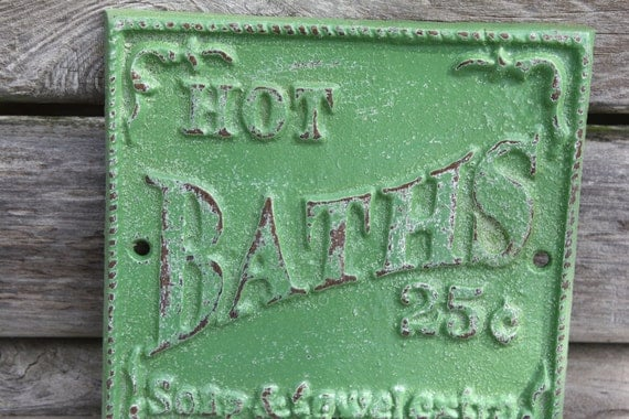 SEAWEED GREEN  Cast Iron Bathroom Hook /  Sign Wall Hook