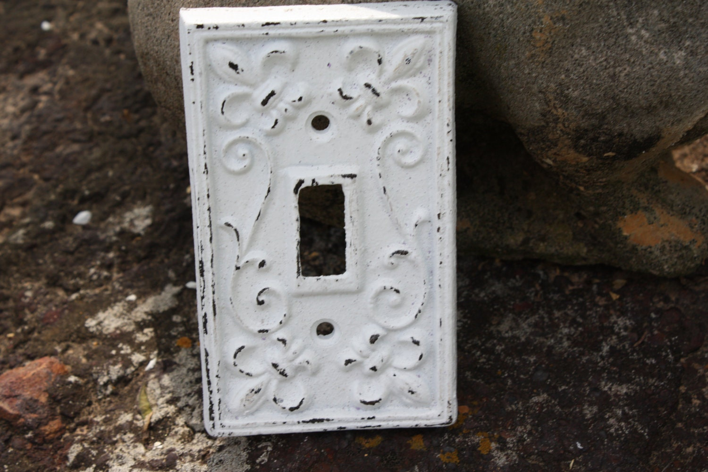 White Cast Iron Ornate Single Switch Plate Fleur De Lis