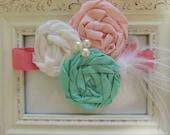 Vintage Pink-White-Turqouise Headband