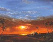 "Giclee of Original Oil Painting ""Hawaiian Sunset"" 24x30"""