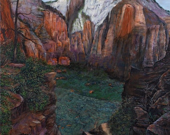 "Zion National Park Giclee of Original Oil Painting - ""On the Way to Angel's Landing"" - 24x36"""