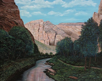 "Wall Decor Landscape Oil Painting, Southern Utah, Zion National Park, Original Work - ""Zion at Dusk"" - 24x30"""