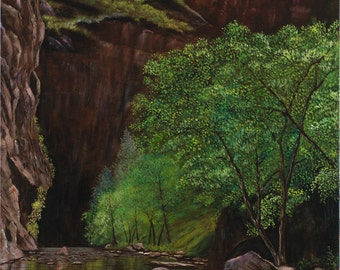 "Wall Decor Giclee of Original Oil Painting, Zion National Park ""Zion Narrows"" - 24x36"""