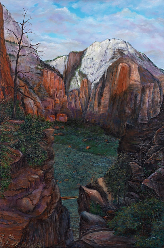 "Original Oil Painting Zion National Park - ""On the Way to Angel's Landing"" - 24x36"""