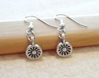 Antique Finished Wheel Earrings - Everyday Jewelry - Minimalist Jewelry