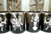 Ten Spectacular Mexico Silver Overlay Tumblers and Shots Mayan Inca Images Handblown