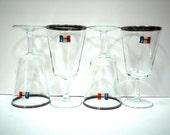 Four France PARISIENNE Crystal Silver Rimmed Wine Glasses