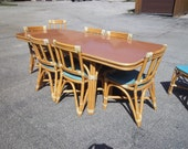1950's Vintage Rattan Furniture - 4 Chairs, Drop Leaf Table & Dining Table w/ 3 Leaves