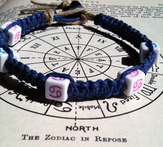 CANCER Zodiac Sign Blue Hemp Beaded Bracelet