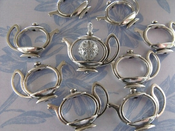 Teapot Frame charms x 10 for Beads