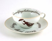 Vintage Cup Mary Poppins Nanny Tea or Coffee Porcelain Musical Film White Brown Romantic