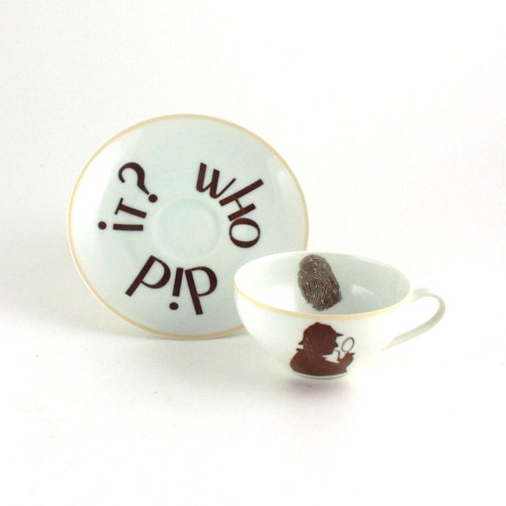 Recycled  Sherlock Holmes Vintage CupTea or Coffee Porcelain Who Did It White Brown BBC Television Serie Crime Story