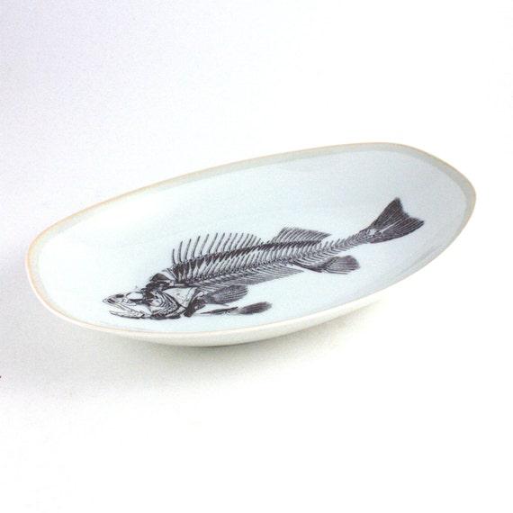 Listing for kev44 Altered Serving Plate Fishbone and Plate Skull Glasses Vintage Porcelain White Sea