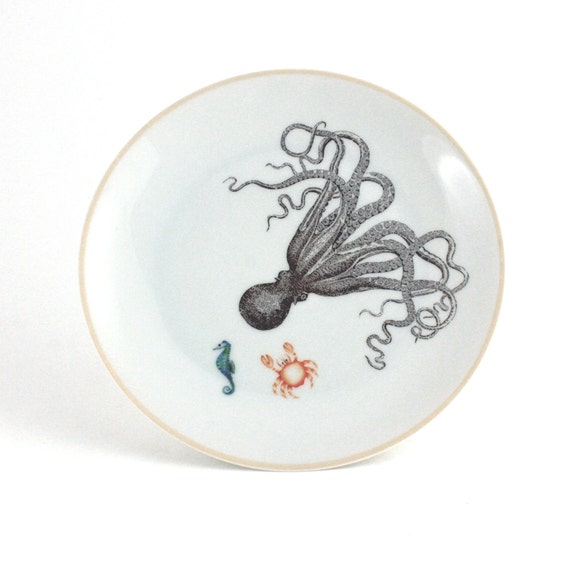 Altered Octopus Porcelain Plate Decorative House Decor Vintage White Brown Nautical Summer Mediterranean  Vacation  Trend Sea