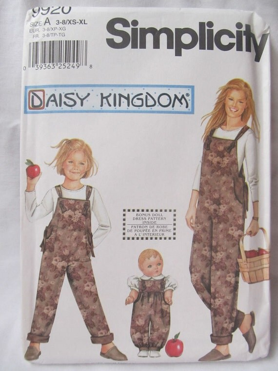 """Simplicity Daisy Kingdom Girl and Misses Overalls & 18"""" Doll Romper Pattern 9920 - Mother Daughter Outifts"""