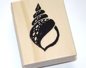 Conch Spiral Sea Shell Beach Ocean Wood Mounted Rubber Stamp
