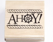 Ahoy Nautical Wood Mounted Rubber Stamp