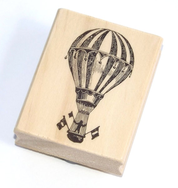 Steampunk Hot Air Balloon - Wood Mounted Rubber Stamp