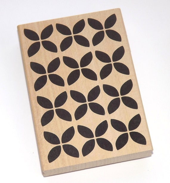Large Bold Flower Geometric Background Wood Mounted Rubber stamp