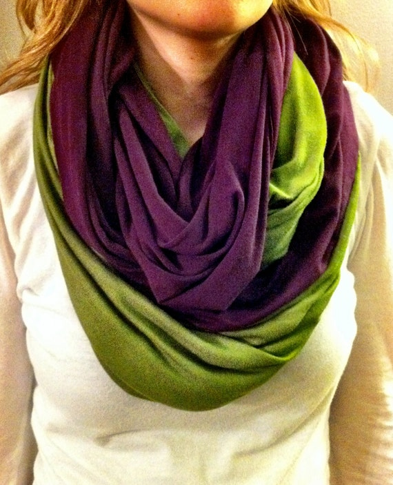 "Handmade Knit Two Tone Eternity Scarf, extra-wide L56"" x W40"""