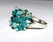 Beaded ring made from Swarovski crystal beads (pacific mix)