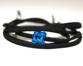 Black Suede Cord Bracelet with Capri Blue Swarovski crystal Beads